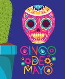 Cinco de mayo card with death mask and cactus. Vector illustration design stock illustration