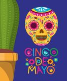 Cinco de mayo card with death mask and cactus. Vector illustration design vector illustration