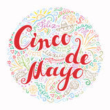Cinco De Mayo card with doodle style handwritten greeting with many Mexican attributes. Hand drawn celebration phrase. Freehand lettering and line art in bright Stock Photography
