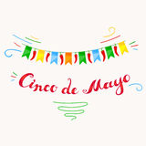 Cinco De Mayo card with freehand lettering. Royalty Free Stock Images