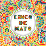 Cinco De Mayo card with greetings lettering and ornate background. Round cut border with shadow effect and abstract Mexican style ornament. Bright ethnic