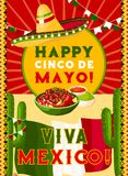 Cinco de Mayo card with mexican flag, fiesta food. Happy Cinco de Mayo greeting card with mexican flag and fiesta party food. Festive sombrero hat, chili and Royalty Free Stock Photos
