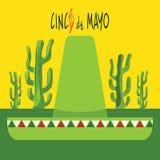 Cinco De Mayo Card Succulents et poivrons de piment rouge Cadre de rectangle Illustration Libre de Droits