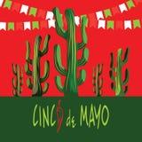 Cinco De Mayo Card Succulents y pimientas de chile rojo Marco del rectángulo libre illustration