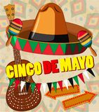 Cinco de mayo card template hat and guitar. Illustration
