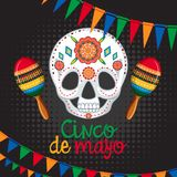 Cinco de mayo card template with mask and maracas royalty free illustration