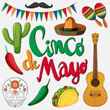 Cinco de mayo card template with mexican hat and food. Illustration