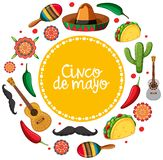 Cinco de mayo card template with mexican musical instruments. Illustration vector illustration