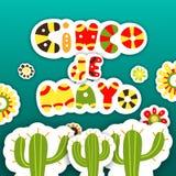Cinco De Mayo Cartões do molde para o feriado mexicano Vetor IL Fotografia de Stock