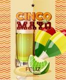 Cinco De Mayo Cartaz com maracas mexicanos, tequila, limão Fotos de Stock Royalty Free