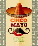 Cinco De Mayo Cartaz com sombreiro, pimentão, bigode mexicano Imagens de Stock Royalty Free