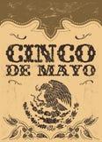 Cinco de Mayo - cartaz mexicano do vetor do feriado - carde o molde