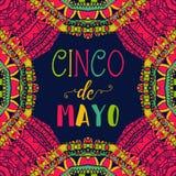 Cinco De Mayo Cartel de la tipografía con el ornamento étnico stock de ilustración