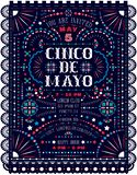 Cinco De Mayo celebration announce poster template with Mexican national decorative ornaments. Customized Western style text for invitation for fiesta party vector illustration
