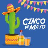 Cinco de mayo celebration with cactus and hat mexican. Vector illustration design royalty free illustration