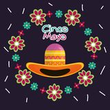 Cinco de mayo celebration card with mexican hat. Vector illustration design royalty free illustration