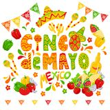Cinco de mayo celebration, festive clipart. Cinco de mayo funny lettering with letters as maraca and wearing sombrero or mexican hat. Latin american celebration Royalty Free Stock Images