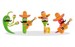 Cinco de mayo celebration with group of characters. Vector illustration design royalty free illustration