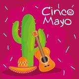 Cinco de mayo celebration with guitar and cactus. Vector illustration design royalty free illustration