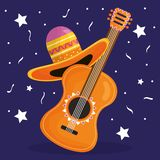 Cinco de mayo celebration with guitar and hat mexican. Vector illustration design vector illustration