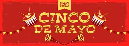 Cinco De Mayo celebration header banner or poster with date of 5 May Sunday. Decorated with bunting and music element on red background stock illustration