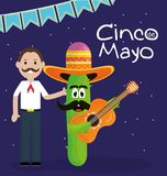 Cinco de mayo celebration with man and cactus character. Vector illustration design stock illustration
