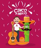 Cinco de mayo celebration with man and cactus character. Vector illustration design royalty free illustration
