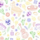 Cinco de Mayo celebration in Mexico. Cartoon doodle collection objects for Cinco de Mayo parade with pinata, maracas. Cartoon doodle collection objects for Cinco Royalty Free Stock Photography