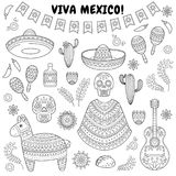 Cinco de Mayo celebration in Mexico. Cartoon doodle collection objects for Cinco de Mayo parade with pinata, maracas. Cartoon doodle collection objects for Cinco Royalty Free Stock Image