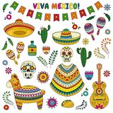 Cinco de Mayo celebration in Mexico. Cartoon doodle collection objects for Cinco de Mayo parade with pinata, maracas. Cartoon doodle collection objects for Cinco Stock Images