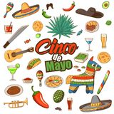 Cinco de Mayo celebration in Mexico,. Icons set, design element. Collection objects for Cinco de Mayo carnival with pinata, food, sambrero, tequila, cactus vector illustration