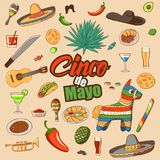 Cinco de Mayo celebration in Mexico,. Icons set, design element. Collection objects for Cinco de Mayo carnival with pinata, food, sambrero, tequila, cactus stock illustration