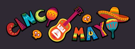 Cinco de Mayo in Mexico. May 5, Latin America holiday. Colorful, royalty free illustration