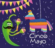 Cinco de mayo celebration with pinata and mexican icons. Vector illustration design stock illustration