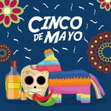 Cinco de mayo celebration with pinata and mexican icons. Vector illustration design royalty free illustration