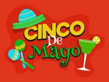Cinco De Mayo celebration poster or flyer decorated. Cinco De Mayo celebration poster or flyer decorated with party element on red background royalty free illustration
