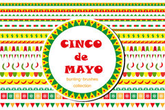 Cinco de Mayo celebration set of borders, ornaments, bunting. Flat style, isolated on white background. Vector Stock Images