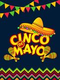 Cinco De Mayo celebration template or flyer design decorated with sombrero. Cinco De Mayo celebration template or flyer design decorated with sombrero hat and stock illustration