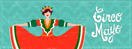 Mexican cinco de mayo web banner with dancer girl. Cinco de mayo celebration web banner. Girl dressed in traditional mexican dress with hair flowers and Stock Photos