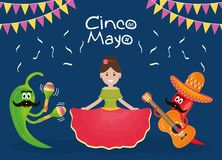 Cinco de mayo celebration woman with musician characters. Vector illustration design stock illustration