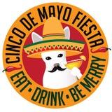 Cinco De Mayo Chihuahua-het pictogram van sombreromargarita Stock Afbeeldingen