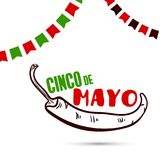 Cinco De Mayo With Chili Pepper. Greeting card for Cinco De Mayo. Vector illustration Royalty Free Stock Photography