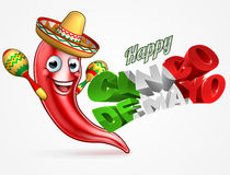 Cinco De Mayo Chilli Pepper Poster Design. A Happy Cinco De Mayo design with red chilli pepper cartoon character in sombrero straw hat holding maracas shakers