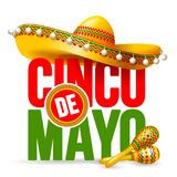 Cinco de Mayo. Emblem design with lettering, sombrero and maracas - symbols of holiday. Isolated on white background. Vector illustration stock illustration