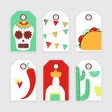 Cinco de mayo. Mexican vector tags set with taco royalty free illustration