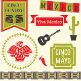 Cinco de Mayo Clipart. Badges, emblems, decorative elements and icons in celebration of the Mexican holiday 5 De Mayo Stock Image