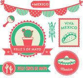 Cinco de Mayo Clipart. Badges, emblems, decorative elements and icons in celebration of the Mexican holiday 5 De Mayo Stock Photography