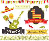 Cinco de Mayo Clipart. Badges, emblems, decorative elements and icons in celebration of the Mexican holiday 5 De Mayo