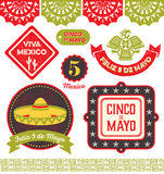 Cinco de Mayo Clipart. Badges, emblems, decorative elements and icons in celebration of the Mexican holiday 5 De Mayo Royalty Free Stock Image