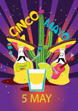 Cinco De Mayo coaster design, poster, flier, signage, party invitation Stock Image